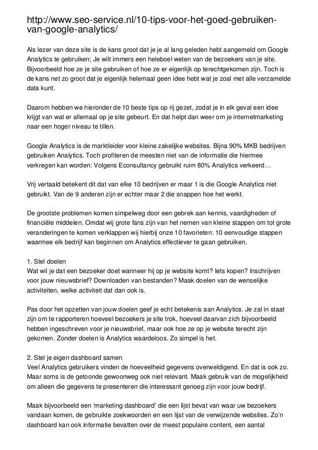http://www.seo-service.nl/10-tips-voor-het-goed-gebruiken-van-google-analytics/