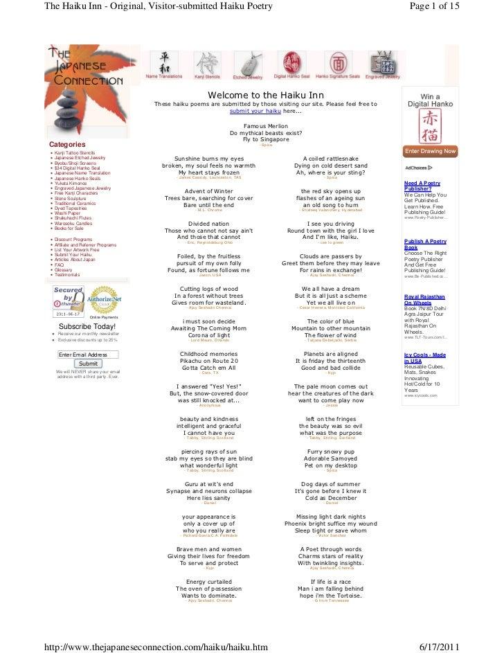 The Haiku Inn - Original, Visitor-submitted Haiku Poetry                                                                  ...