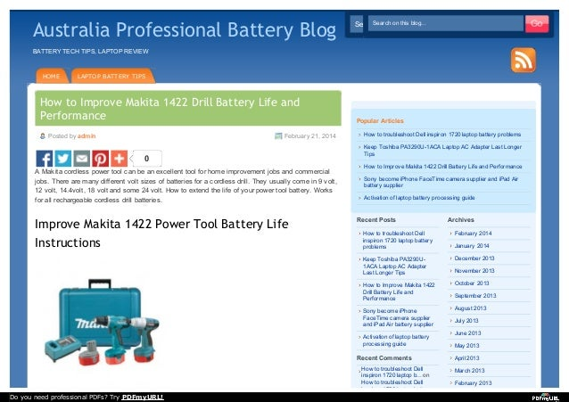Improve Makita 1420 Cordless Drill Battery Life Instructions