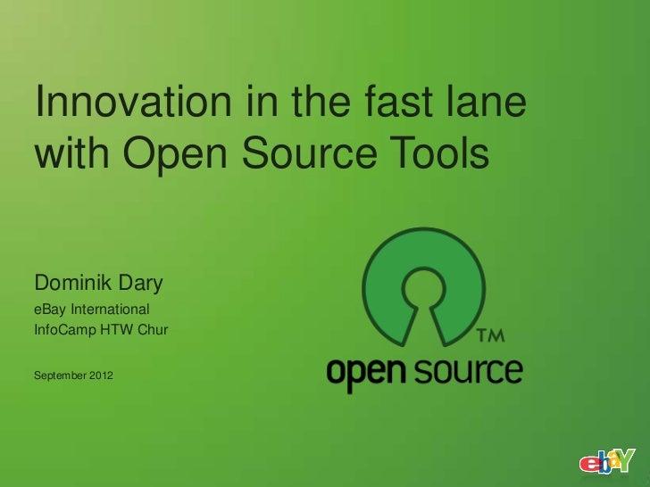 Innovation in the fast lanewith Open Source ToolsDominik DaryeBay InternationalInfoCamp HTW ChurSeptember 2012