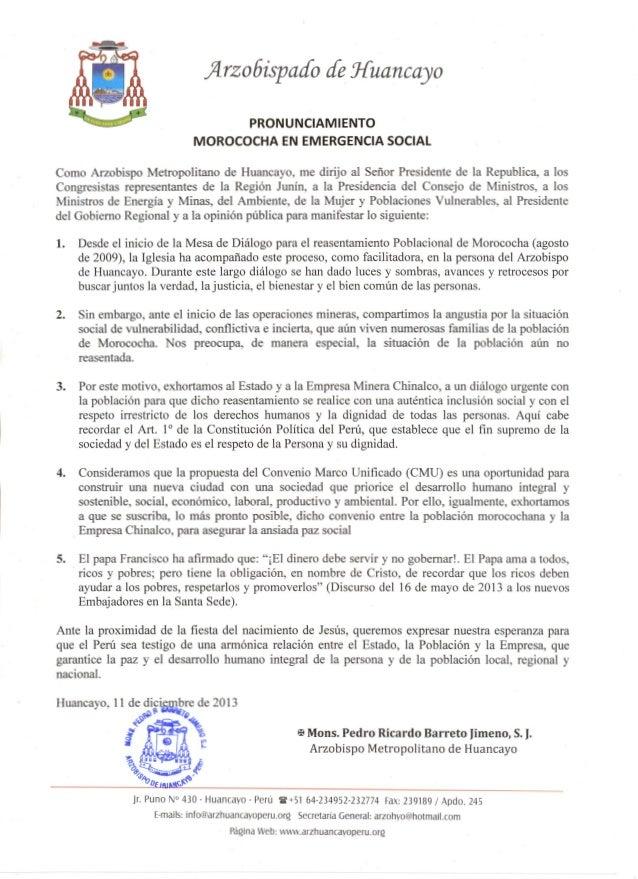 ;4.rzo6ispado de Huancayo PRONUNCIAMIENTO MOROCOCHA EN EMERGENCIA SOCIAL Como Arzobispo Metropolitano de Huancayo, me diri...