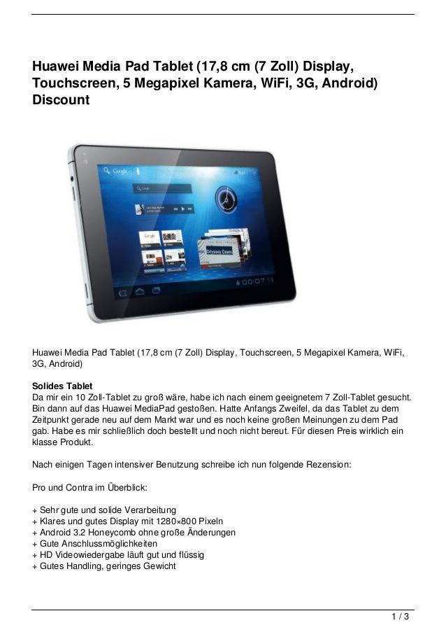 Huawei Media Pad Tablet (17,8 cm (7 Zoll) Display,Touchscreen, 5 Megapixel Kamera, WiFi, 3G, Android)DiscountHuawei Media ...