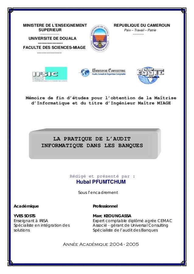 MINISTERE DE L'ENSEIGNEMENT SUPERIEUR  REPUBLIQUE DU CAMEROUN Paix – Travail – Patrie  ----------------  ---------  UNIVER...
