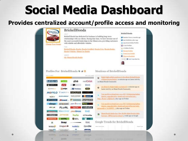 Social Media DashboardProvides centralized account/profile access and monitoring