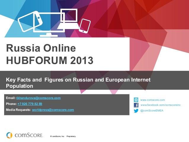 Russia OnlineHUBFORUM 2013Key Facts and Figures on Russian and European InternetPopulationEmail: tkhandurova@comscore.com ...