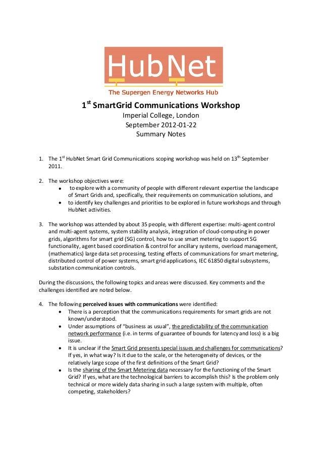 Hub net symposium_smartgridcommworkshop#1_summary_note