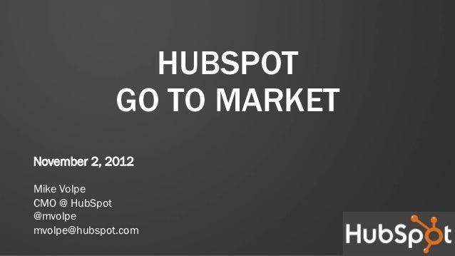 HUBSPOT              GO TO MARKETNovember 2, 2012Mike VolpeCMO @ HubSpot@mvolpemvolpe@hubspot.com