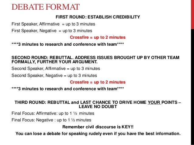 Debate example essay