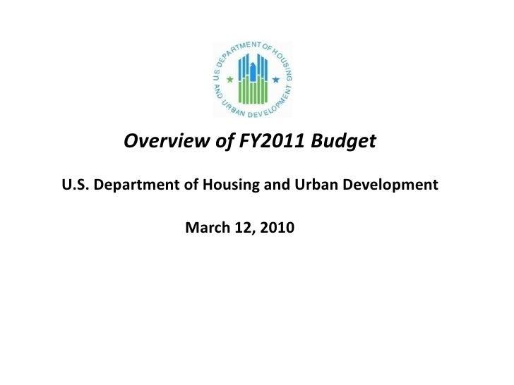 Raphael Bostic: Overview of HUD FY 2011 Budget Proposal