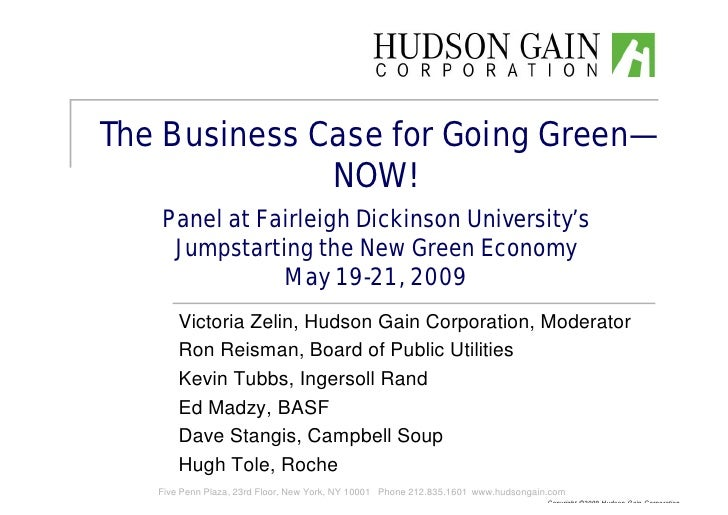 Business Case for Going Green -- Now