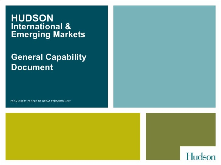 HUDSON  International & Emerging Markets  General Capability Document
