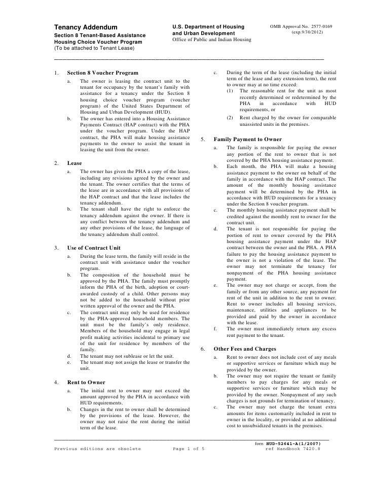 Tenancy Addendum                                     U.S. Department of Housing                 OMB Approval No. 2577-0169...
