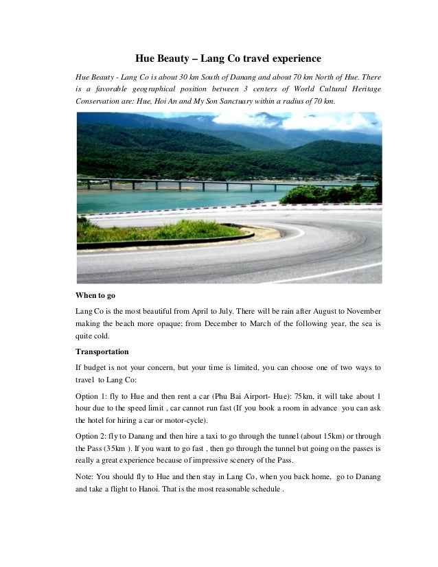 Hue Beauty – Lang Co travel experience Hue Beauty - Lang Co is about 30 km South of Danang and about 70 km North of Hue. T...