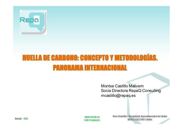 HUELLA DE CARBONO: CONCEPTO Y METODOLOGÍAS. PANORAMA INTERNACIONAL RepaQ – CO2 www.repaq.es info@repaq.es Parc Científic i...