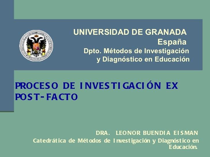 <ul><li>DRA.  LEONOR BUENDIA EISMAN </li></ul><ul><li>Catedrática de Métodos de Investigación y Diagnóstico en Educación. ...