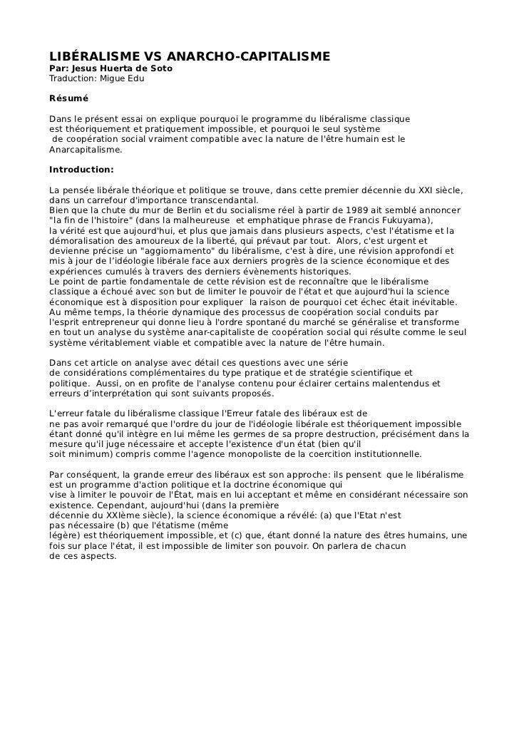 LIBÉRALISME VS ANARCHO-CAPITALISMEPar: Jesus Huerta de SotoTraduction: Migue EduRésuméDans le présent essai on explique po...