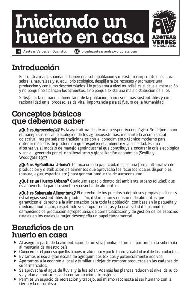 Iniciando unhuerto en casa   Azoteas Verdes en Guanatos         blogdeazoteasverdes.wordpress.comIntroducción En la actual...