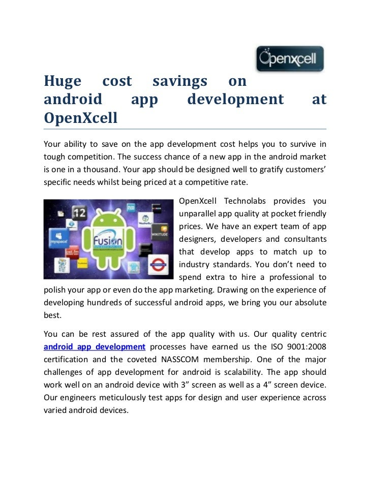 Huge cost savings on android app development at OpenXcell