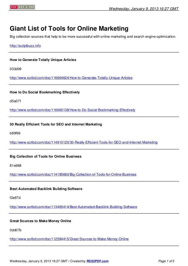 Huge Listing of Resources for Internet Marketing