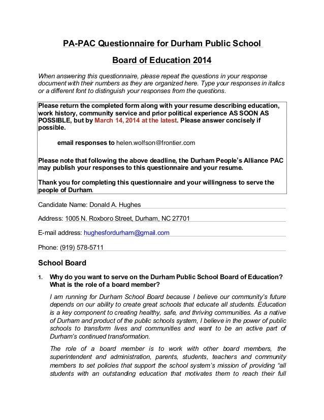 Donald Hughes 2014 PA-PAC Questionnaire