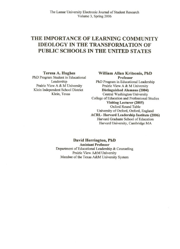 The Lamar University Electronic Journal of Student Research                            Volume 3, Spring 2006THE IMPORTANCE...