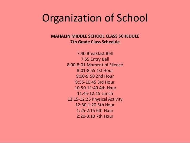 Middle School Class Schedules School Class Schedule 7th