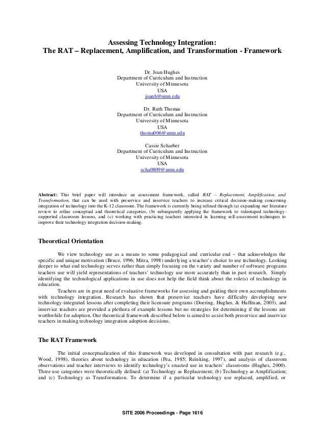 Assessing Technology Integration:  The RAT – Replacement, Amplification, and Transformation - Framework                   ...