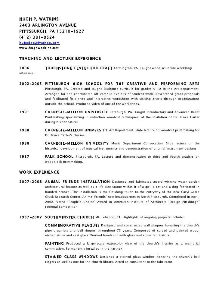 Hugh Watkins -  Resume 2009