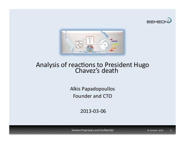Analysis of reac1ons to President Hugo                     Chavez's death                 Alkis Papadopo...