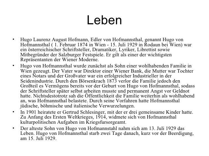 Hugo von Hofmannsthal und die psychoanalyse
