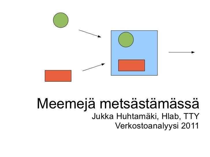 Meemejä metsästämässä Jukka Huhtamäki, Hlab, TTY Verkostoanalyysi 2011