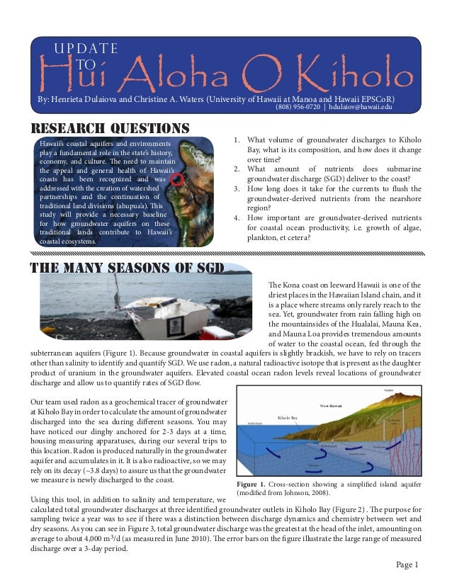 u p dat e to  Hui Aloha O Kiholo By: Henrieta Dulaiova and Christine A. Waters (University of Hawaii at Manoa and Hawaii E...