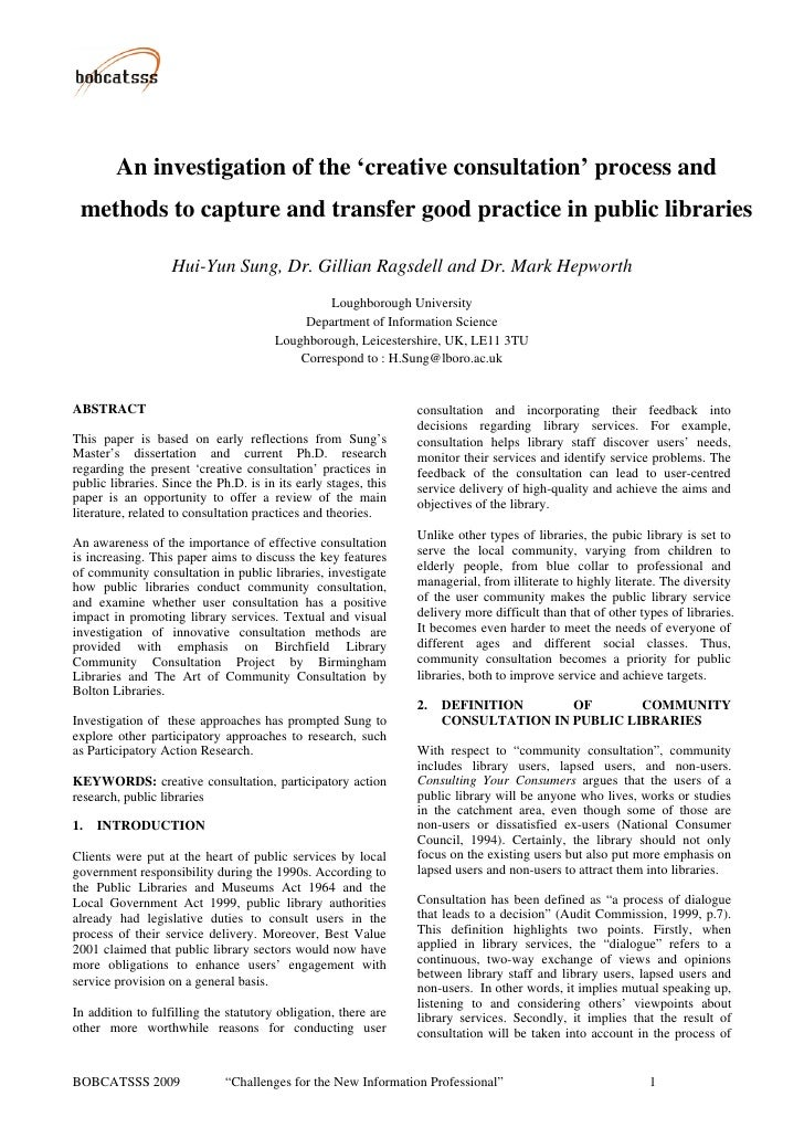 An investigation of the 'creative consultation' process and  methods to capture and transfer good practice in public libra...