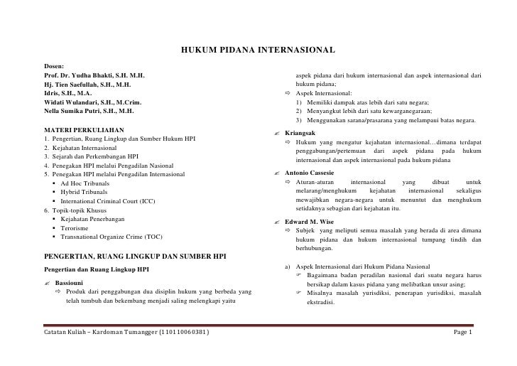 HUKUM PIDANA INTERNASIONALDosen:Prof. Dr. Yudha Bhakti, S.H. M.H.                                        aspek pidana dari...