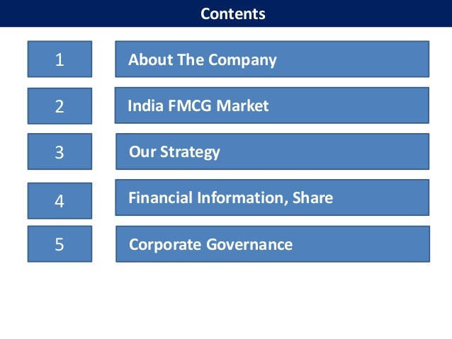 Contents1   About The Company2   India FMCG Market3   Our Strategy4   Financial Information, Share5   Corporate Governance