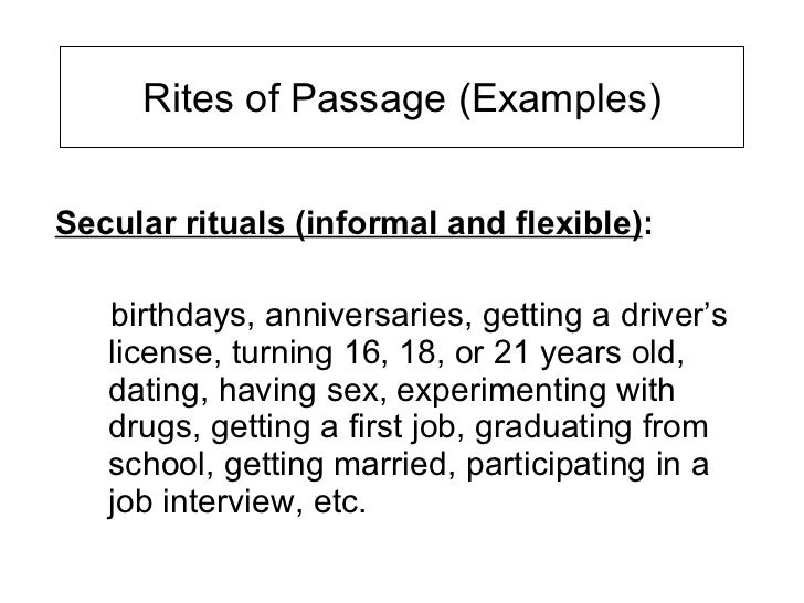 Rite Of Passage Essays - StudentShare