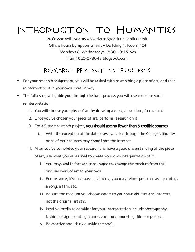 Hum1020 0730 research project instructions