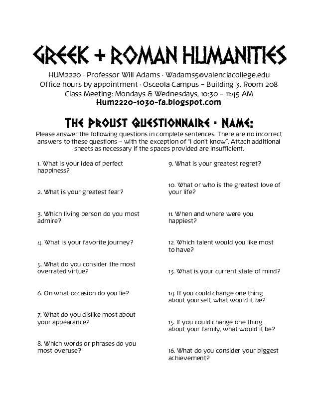 HUM2220 Proust Questionnaire