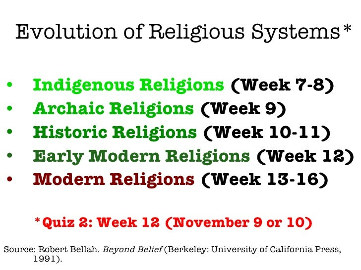 Evolution of Religious Systems* <ul><li>Indigenous Religions  (Week 7-8) </li></ul><ul><li>Archaic Religions  (Week 9) </l...
