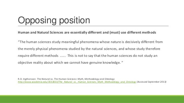How are natural sciences and human sciences alike?