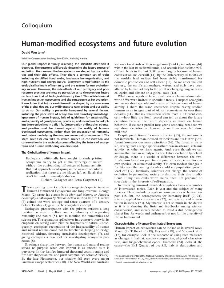ColloquiumHuman-modified ecosystems and future evolutionDavid Western*Wildlife Conservation Society, Box 62844, Nairobi, K...