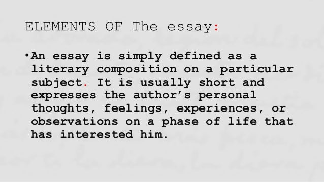Elements of an essay in humanities