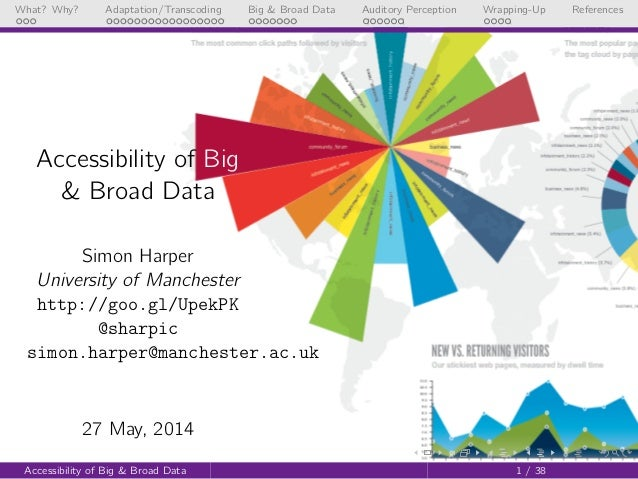 Accessibility of Big & Broad Data