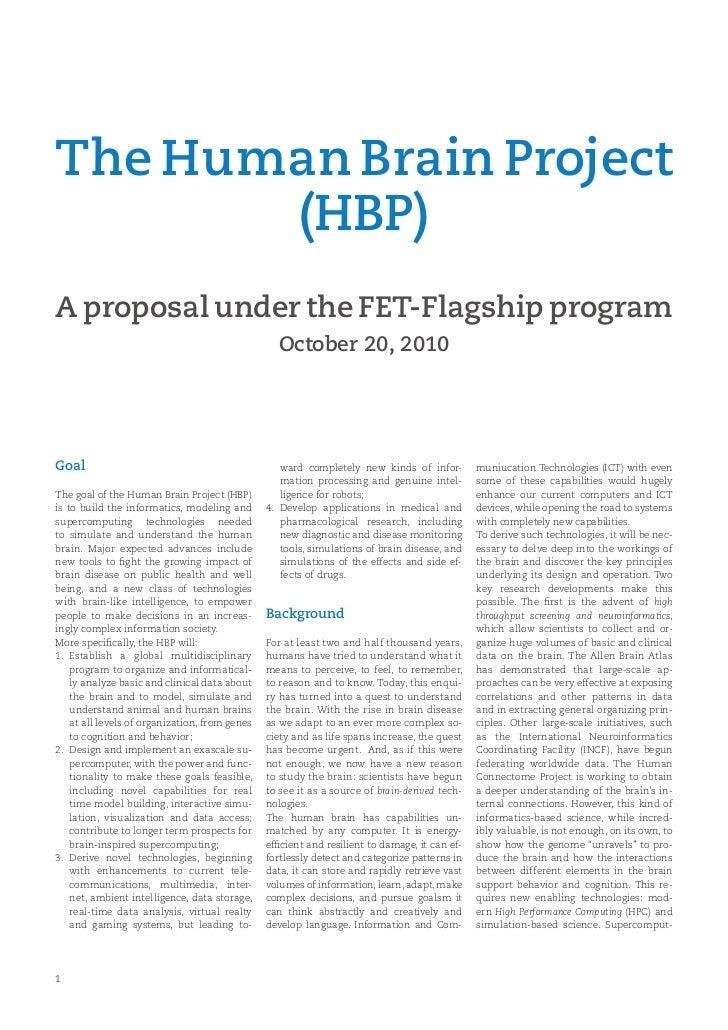 The Human Brain Project       (HBP)A proposal under the FET-Flagship program                                              ...
