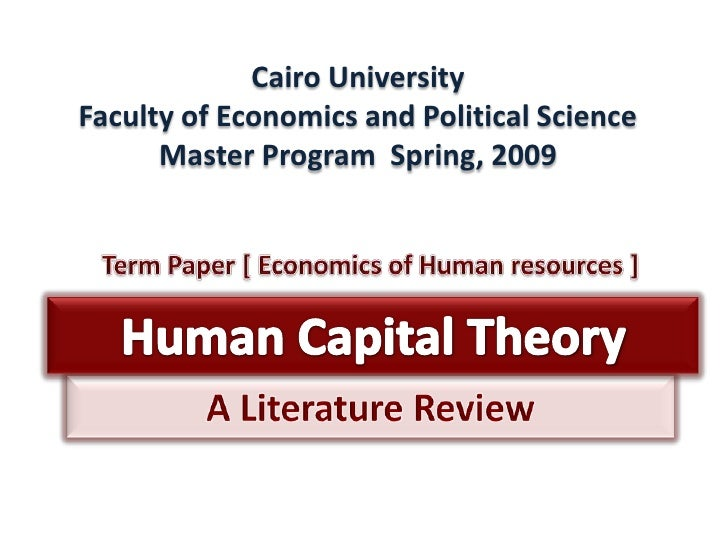 Cairo UniversityFaculty of Economics and Political Science      Master Program Spring, 2009