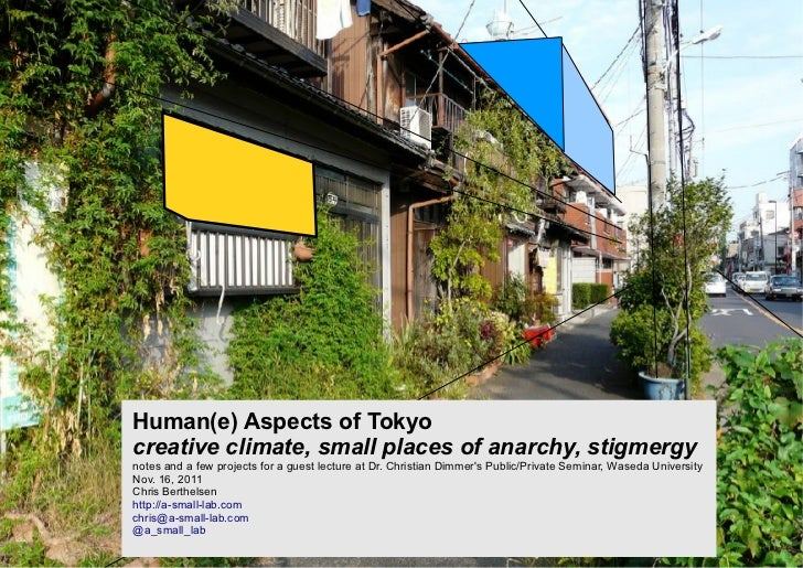 Human(e) Aspects of Tokyocreative climate, small places of anarchy, stigmergynotes and a few projects for a guest lecture ...
