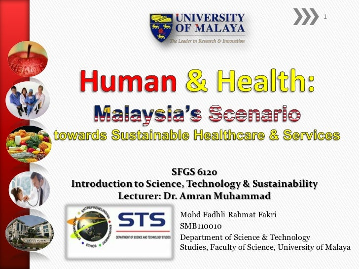 1                     SFGS 6120Introduction to Science, Technology & Sustainability         Lecturer: Dr. Amran Muhammad  ...