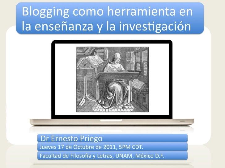 Blogging como herramienta en la enseñanza y la investigación