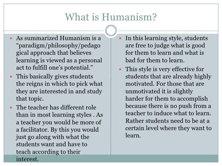 humanistic approach to the teaching and Humanistic language teaching is a complex teaching method that aims to develop students' basic language 'humanistic' approaches in the adult classroom: an.