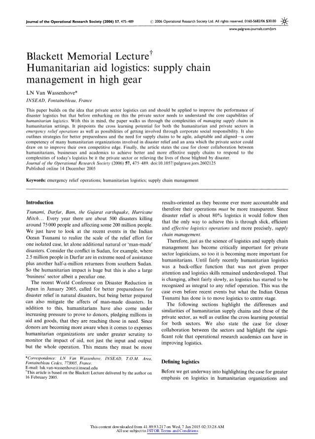 Humanitarian Aid Logistics Supply Chain Management In High